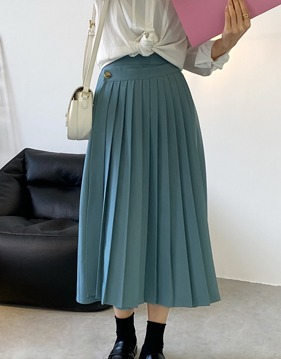 pleats rubber band long skirt s138657