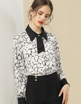 Marble chiffon blouse v138959