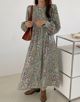 Leaf printing long dress s139123