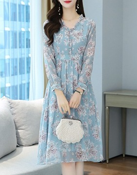 High-waist floral chiffon dress s139436
