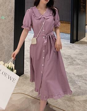 라벤더 둥근카라 프릴 셔츠 원피스 v140923