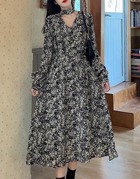 [SALE]Floral chiffon dress s139353