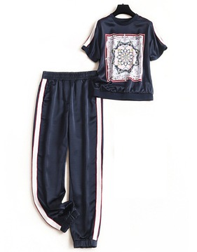 에스닉 새틴 탑 & 하렘 팬딩 패츠 v141845