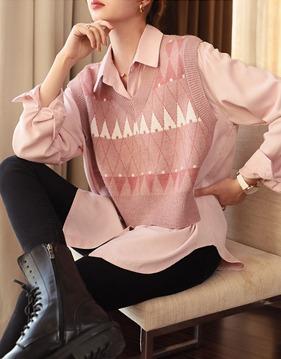 스위트 조끼장식 핑크 셔츠 v140960