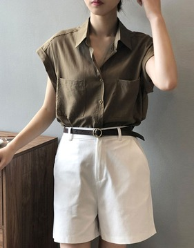 포켓 슬리브리스 셔츠 s143044