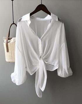 시스루 리본 셔츠 s143283