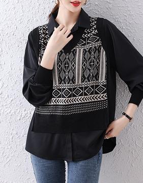 에스닉 니트 베스트 레이어드 셔츠 v148134