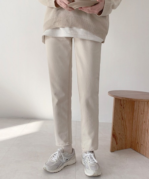 Contrast-Stitched Straight-Leg Pants
