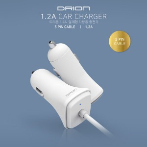 [DRION] 드리온 일체형 차량용 충전기1.2A [5핀][120cm] #