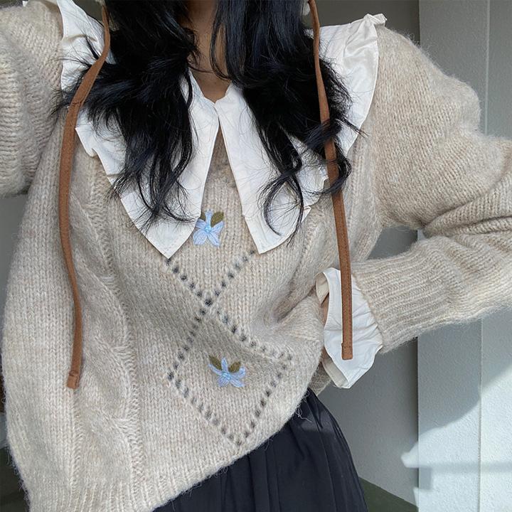키치플라워울니트-knit
