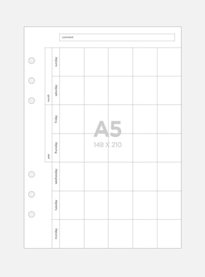 Be on :D A5 A Six-hole Diary Refill Inner Paper - Horizontal Form Monthly