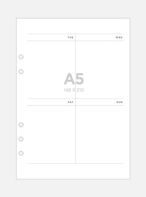 Be on :D A5 A Six-hole Diary Refill Inner Paper - Weekly (Vertical)