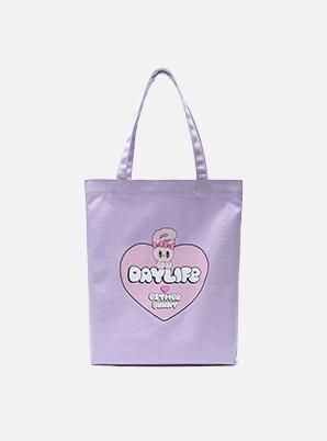 DAYLIFE DAYLIFE♥ESTHER BUNNY BIG HEART ECO BAG (PURPLE)