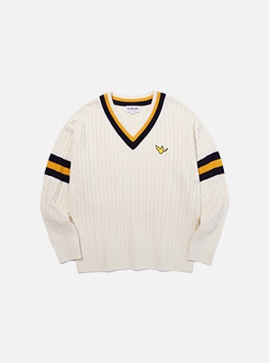 MARK GONZALES WAPPEN V-NECK KNIT IVORY