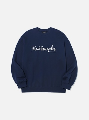 MARK GONZALES SIGN LOGO CREWNECK NAVY