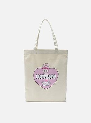 DAYLIFE DAYLIFE♥ESTHER BUNNY BIG HEART ECO BAG (WHITE)