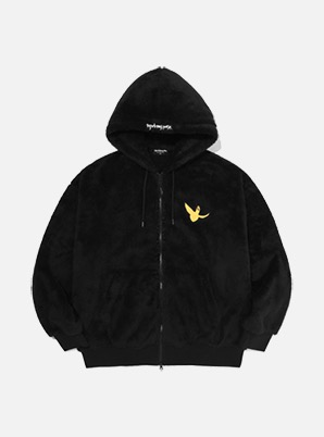 MARK GONZALES ANGEL BOA HOOD ZIP-UP BLACK