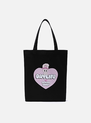 DAYLIFE DAYLIFE♥ESTHER BUNNY BIG HEART ECO BAG (BLACK)