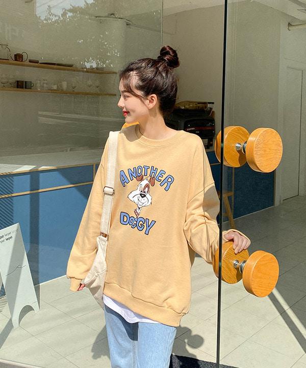 도기배색맨투맨(3단쭈리)