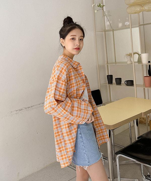 봄신상 러블리 체크 벌룬소매 오버핏 남방 셔츠