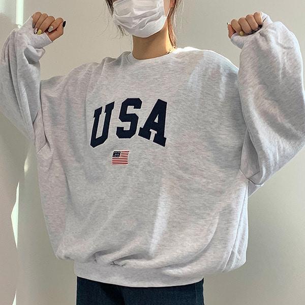 USA 자수 오버핏 맨투맨