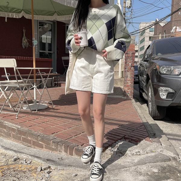 헤링본 코튼 캐주얼 4부 미니 숏 팬츠