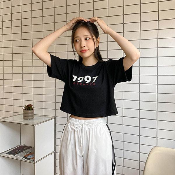 1997 크롭 프린팅 반팔 티