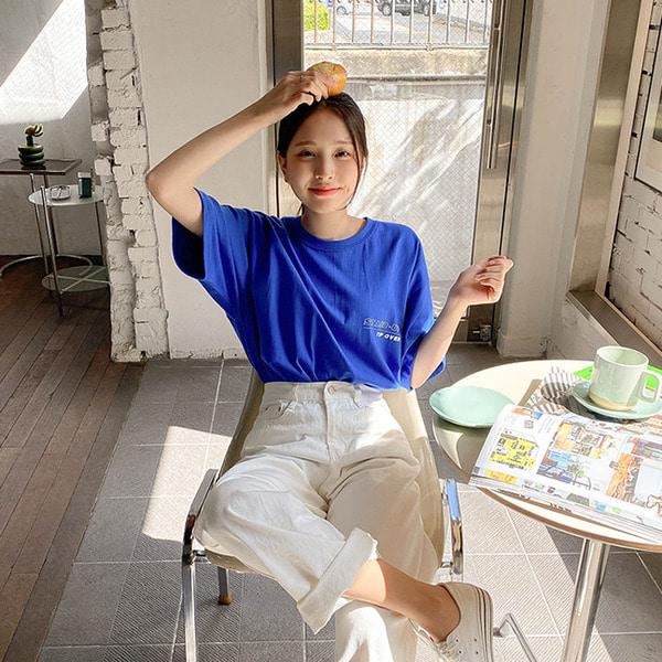팁 박시핏 반팔 영문 티셔츠