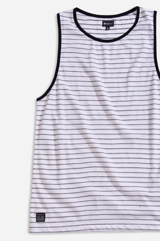 MATIXChecker Stripe Tank White