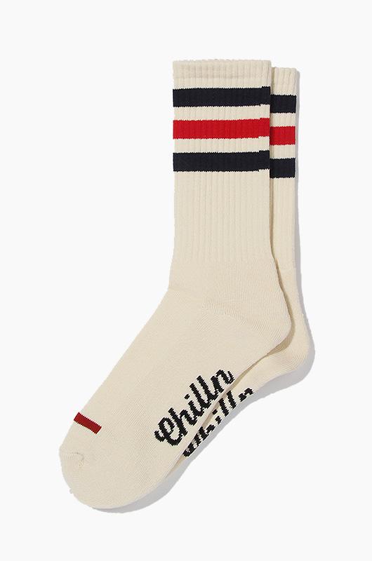CHILLN Stripe Socks Cream/Navy/Red