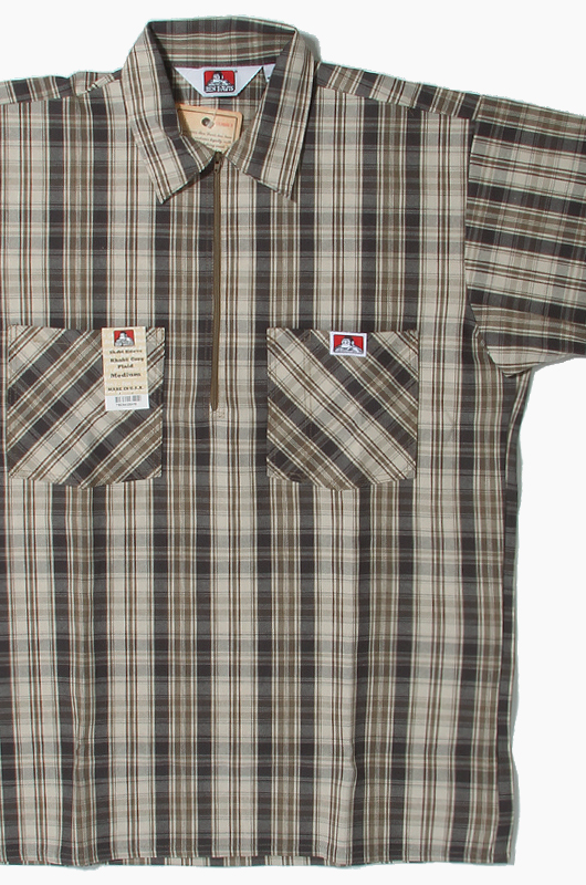 BENDAVIS Short Sleeve Plaid Khaki/Grey