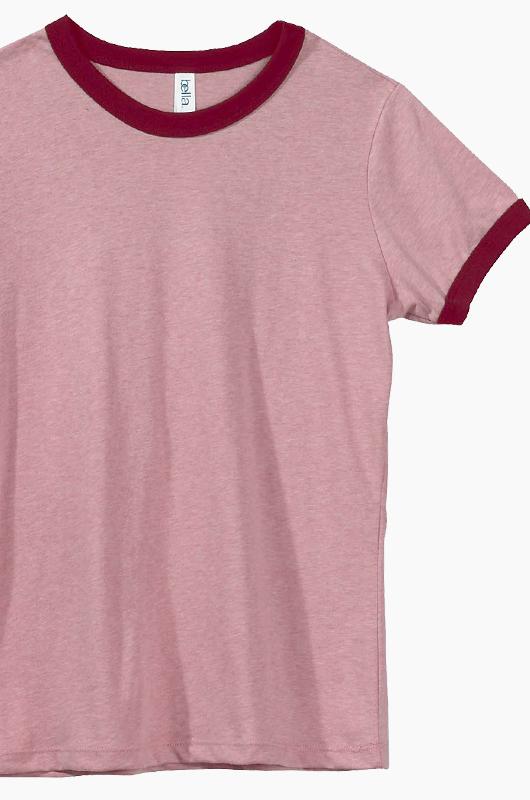 BELLA WOMEN Ringer T Pink/Cardinal