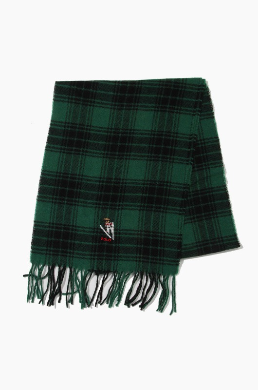 POLO Bear Embroidered Plaids Scarf Green/Black