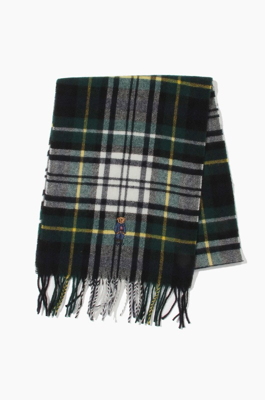POLO Bear Embroidered Plaids Scarf Cream Tartan
