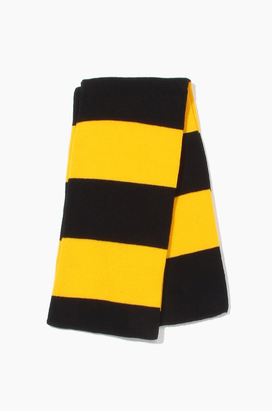 Plain Scarf Rugby Stripe Knit Scarf Black/Gold