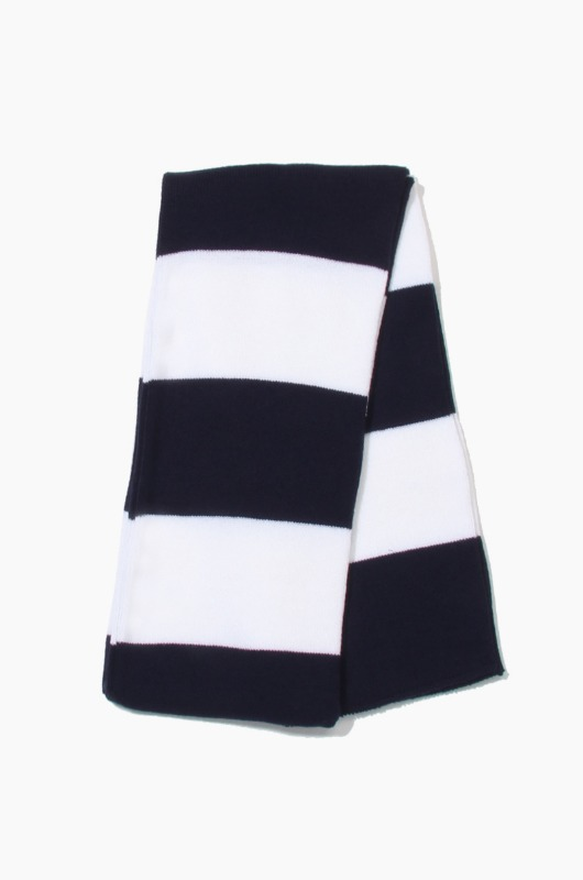 Plain Scarf Rugby Stripe Knit Scarf Navy/White