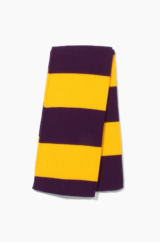Plain Scarf Rugby Stripe Knit Scarf Purple/Gold