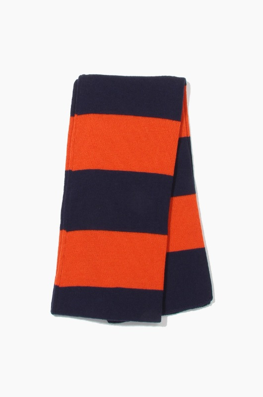 Plain Scarf Rugby Stripe Knit Scarf Navy/Orange