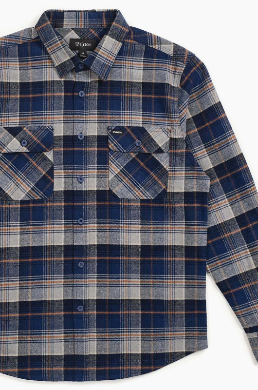 BRIXTON Bowery L/S Flannel Blue Night