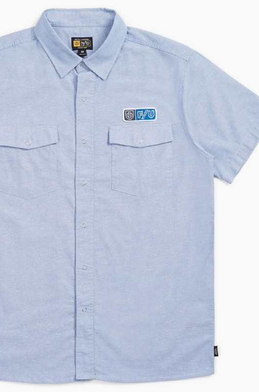 BRIXTON Officer S/S Shirts Light Blue