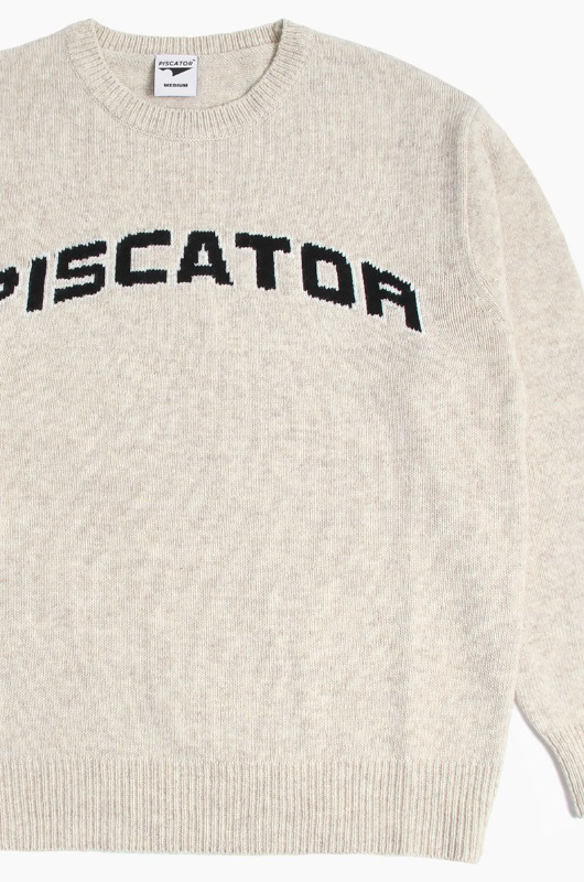 PISCATOR Arch Logo Wool Sweater Oatmeal