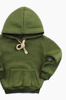 Plain Kids Hood Olive
