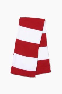 Plain Scarf Rugby Stripe Knit Scarf Cardinal/White