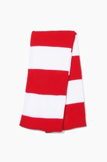 Plain Scarf Rugby Stripe Knit Scarf Red/White