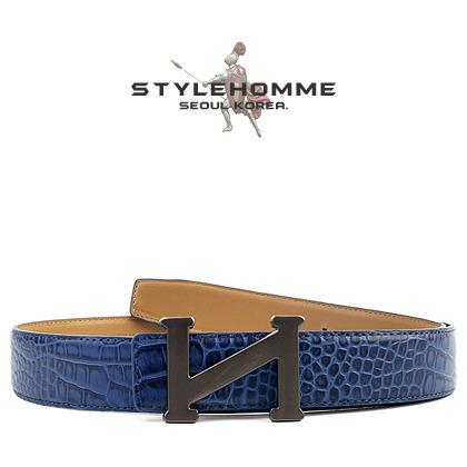 5033 STYLEHOMME 로고 크로코다일 벨트 (Blue)