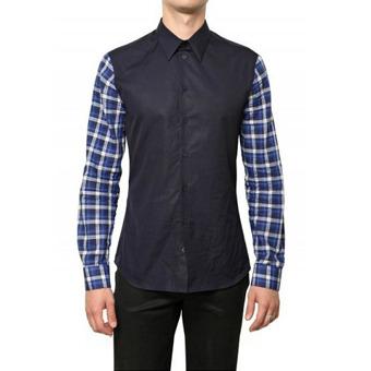 82811 프리미엄 체크 배색 셔츠 (Navy)