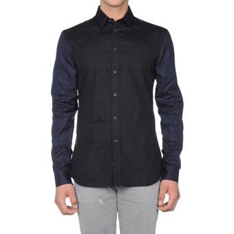 82934 프리미엄 팔배색 셔츠 (Black+Navy)