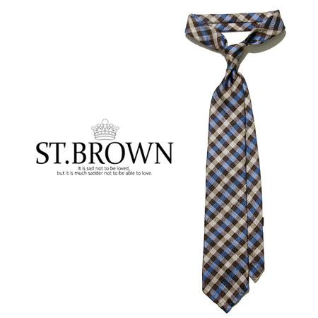 -ST.B-84066 SFODERATO Linen Check 타이 (Brown)