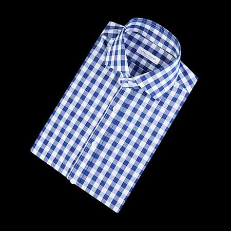84869 No.25-A 프리미엄 체크 1/2 셔츠 (Blue)