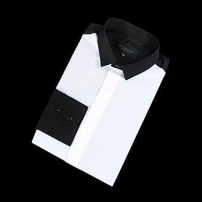 86347 NE 프리미엄 배색 셔츠 (White+Black)